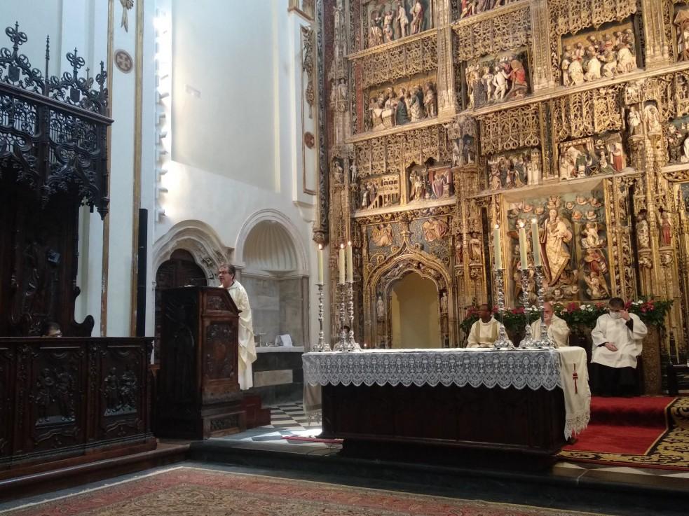 La homilía fue pronunciada por D. Luis Manzaneque, Capellán del hospital de Ciudad Real, y miembro de la Asociación Amigos de El Paular, que pasa unos días de oración y descanso en el Monasterio.